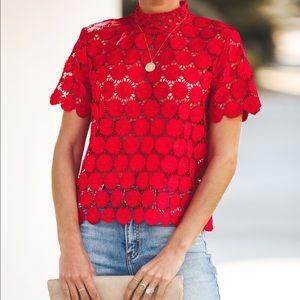 c9db8f8f1f70b Vici Josephine Crochet Top in Red
